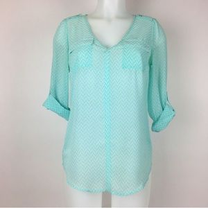 Candies sheer blouse v neck cuff button sleeves